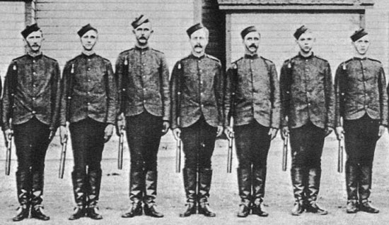 "June 1890 - New Recruits at ""Depot"" barrack in Regina (Source of photo - Jack Randle)"