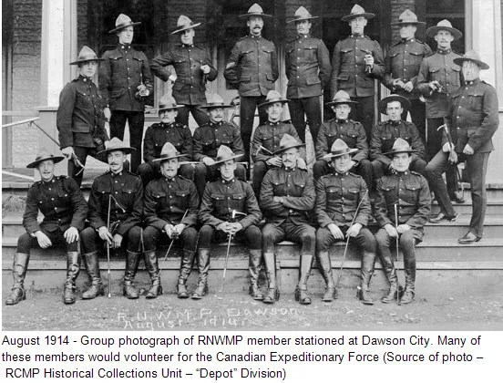 "1914 - Photograph of RNWMP members at Dawson (Source of photo - RCMP Historical Collection Unit - ""Depot"" Division)"