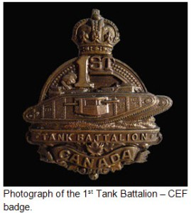 Photograph of the 1st Canadian Tank Battalion cap badge.