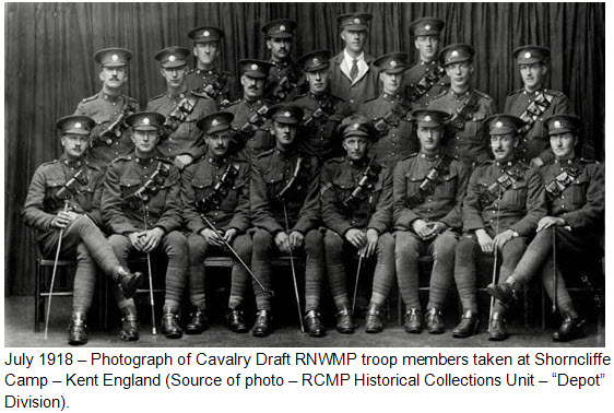 """Photograph of Troopers and junior NCOs of the Cavalry Draft RNWMP - taken at Shorncliffe Camp in Kent England (Source of photo - RCMP Historical Collections Unit - """"Depot"""" Division)."""