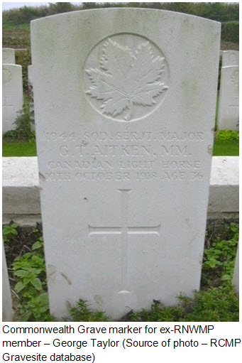 Photograph of ex-RNWMP member grave marker to George Taylor Aitkin (Source of photo - RCMP Gravesite database).
