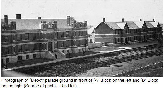 "Photograph of RNWMP ""Depot"" barracks in Regina (Source of photo - Ric Hall)."