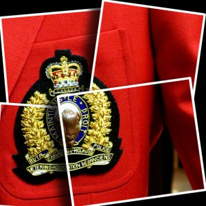 Photograph of a RCMP Veteran's blazer crest on a red blazer (Source of photo - Sheldon Boles)