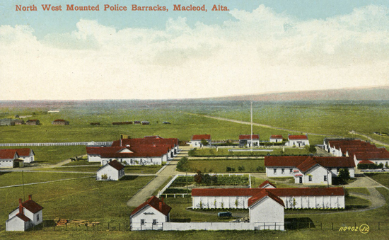 Post card of the North West Mounted Police barracks at Macleod Alberta (Source of photo - Ric Hall's Photo Corner).