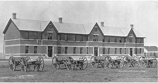 Photograph of the original RCMP Depot Division's 'B' Block (Source of photo - Ric Hall's Photo Collection).