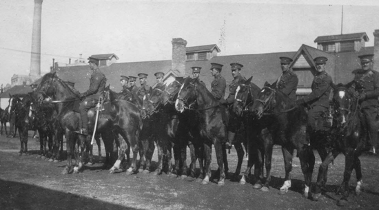 "1918 - Photograph of ""A"" Squadron RNWMP members at Camp Shorncliffe England (Source of photo - Ric Hall's Photo Collection)."
