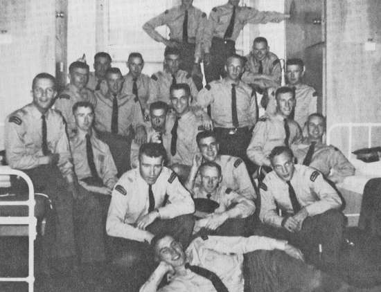 "A typical troop photograph of recruits in their ""B"" Block dorms at Depot Division in Regina (Source of photo - Ric Hall's photo collection)."