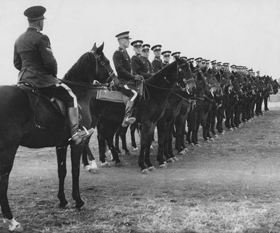 "1950s Photograph of ""Depot"" Equestrian Trainng for new recruits (Source of photo - Ric Hall's Photo Collection)."