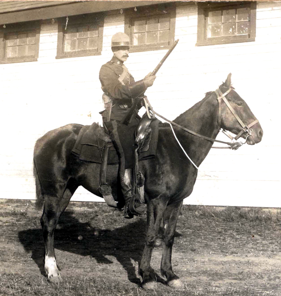 "1914 - Photograph of Constable Frank Pearson at ""Depot"" barracks in Regina (Source of photo - Ric Hall's Photo Collection)."