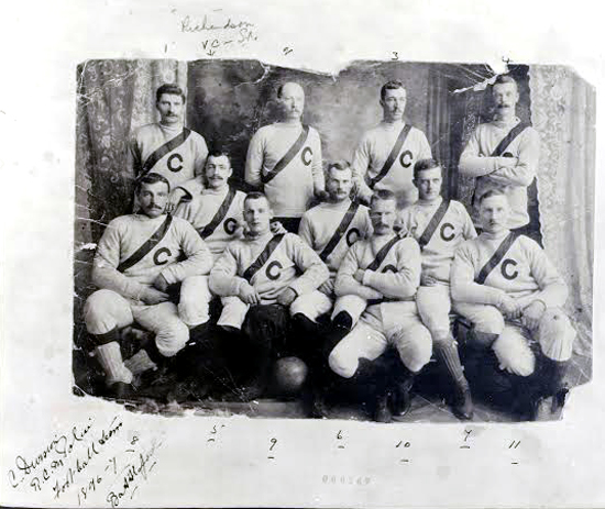 1896-1897 - NWMP Rugby Team in Regina (Source of photo - Ric Hall's Photo Collection).