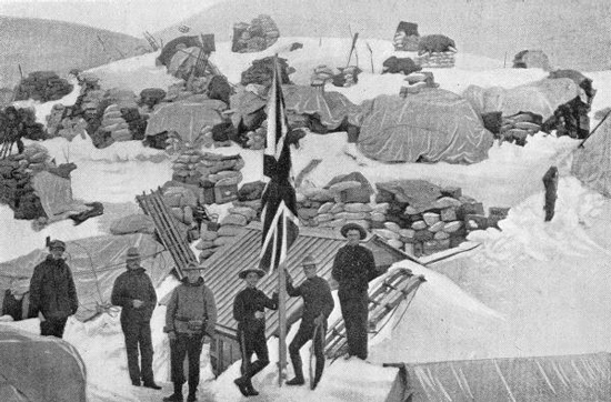 Photograph of the NWMP Custom House at the Chilkoot Summit.