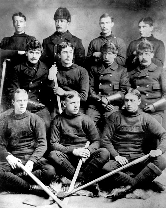 1901 Whitehorse Yukon - North West Mounted Police (NWMP) hockey team.  Backrow: Cst. J.K. Johnstone, Sgt. McClaren, Cst. Piercery, Cst. Ferris. Center Row: Cst. Holt, Cst. Swift, Cst. Christenson, Cst. Lawton. Front Row: Cst. H.W. Fowell, Cst. Brickwood and Cst. Harbottle (Source of photo - Laird Allan's Photo Collection).