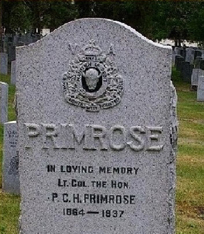 Photograph of the gravemarker for Lt. Governor Philip Primrose (Source of photo - RCMP Gravesite Database).