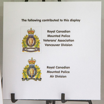 Display tribute label at the RCMP Langley's Aviation of Flight (Source of photo - Sheldon Boles)