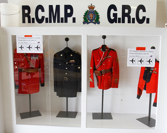 Photograph of the RCMP Air Division display under construction at the Langley Museum of Flight (Source of photo - Sheldon Boles).