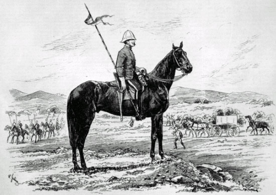 Illustration of a NWMP member during the 1874 March West.