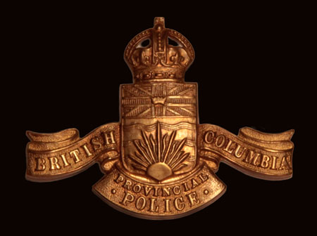 Photograph of the British Columbia Provincial Police cap badge as was worn by (Source of photo - Sheldon Boles).