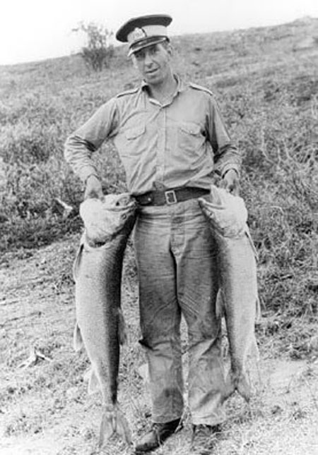 """Photograph of a member involved in a fish count - """"these ones are what he caught"""" (Source of photo - Ric Hall's Photo Collection)."""