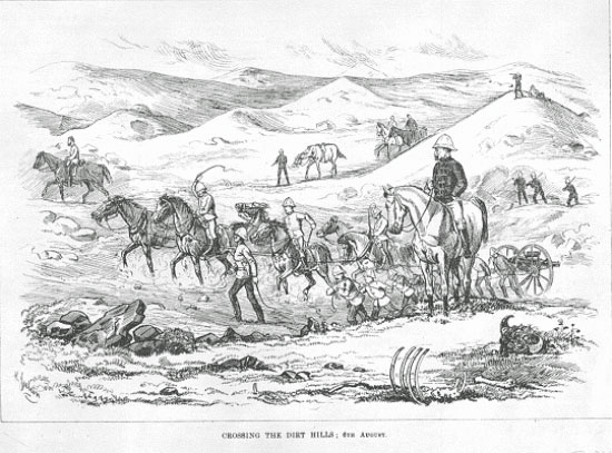 "Illustration of NWMP's ""C"" Troop pulling the 9-pounders during the 1874 March West (Source of photo - Ric Hall's Photo Collection)."