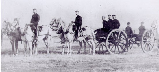 "Photograph of a NWMP Artillery Gun Crew (Source of photo - RCMP Historical Collection - ""Depot"" Division)."