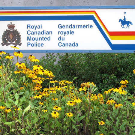 photograph of an RCMP Detachment sign (Source of photo - Sheldon Boles)
