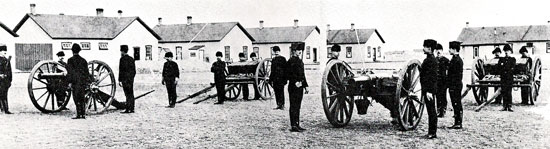 """December 1890 - Artillery Detachment """"D"""" and """"H"""" Divisions at Fort MacLeod (Source of photo - Ric Hall's Photo Collection)."""