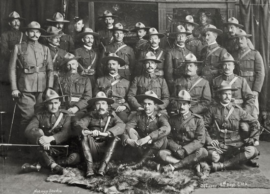 Photograph of officers of the 5th Canadian Mounted Rifles heading off to the Boer War (Source of photo - Doug Madill).