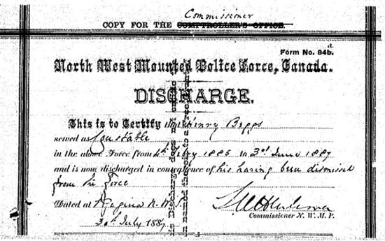 NWMP Discharge Certificate for Constable John Henry Beggs (Source of image - Library Archives of Canada: NWMP file)