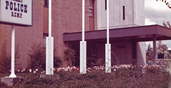 Photograph of the old RCMP Detachment located in Cloverdale (Source of photo - Bill MacWhirter).