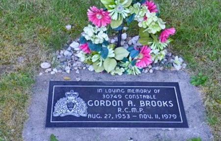 Photograph of the gravemarker for Constable Gordon Brooks (Source of photo - RCMP Gravesite database).