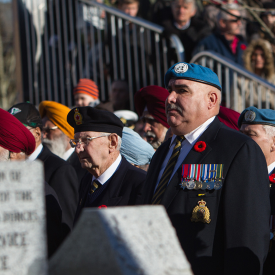 Photograph of RCMP Veteran Laurier Cadieux at the Cloverdale Remembrance Service (Source of photo - Sheldon Boles).