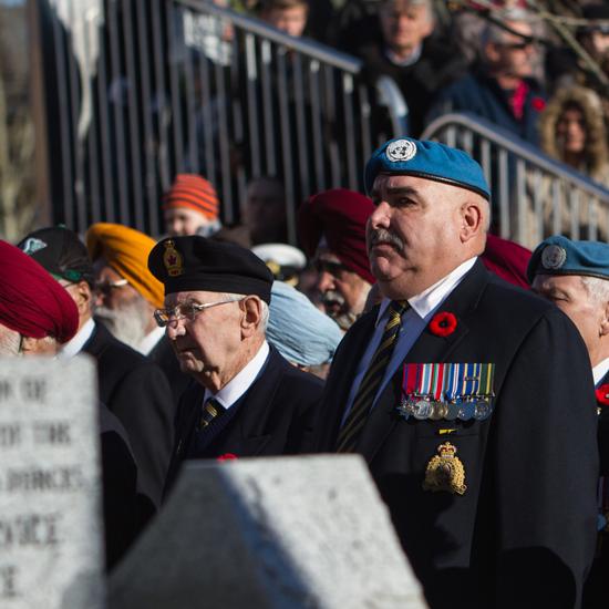 Photograph of RCMP Veteran Laurier Cadieux at the Cloverdale Remembrance Service (Source of photo - Sheldon Boles).