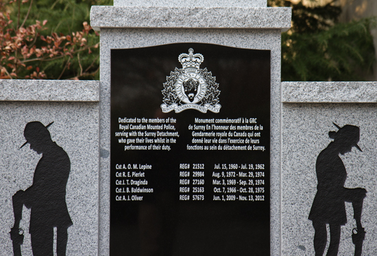 November 2014 - Photograph of the Memorial For Fallen Members at the main entrance to Surrey Detachment (Source of photo - Ric Hall's Photo Collection).