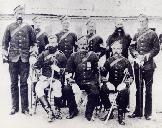 "1878 Fort Walsh - Photograph of NWMP senior NCOs (Source of photo - RCMP Historical Collections Unit - ""Depot"" Division)."