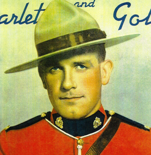 Image of an RCMP member used on the cover of the 1938 to 1949 cover of the Scarlet & Gold magazine cover (Source of image - Ric Hall's Photo Corner).