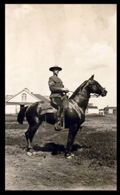 Photograph of RCMP Corporal Arthur Barker on horseback (Source of photo - Ric Hall's Photo Collection).