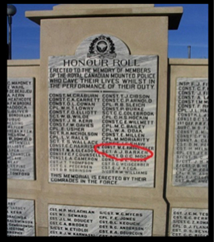 """Photograph of the RCMP Cenotaph at """"Depot"""" Division.  Sergeant Arthur Barker's name is circled in red in this photograph (Source of photo - Ric Hall's Photo Corner)."""