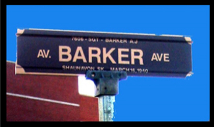 """Photograph of the """"Depot"""" Division's street sign named in the honour of Sergeant Arthur Barker (Source of photo - Ric Hall's Photo Collection)."""