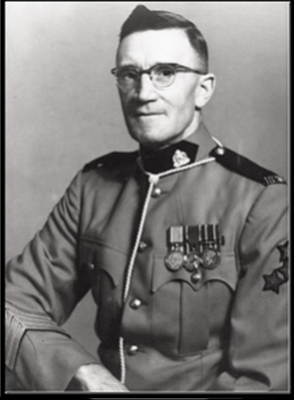 Photograph of RCMP Staff Sergeant Frank Barker (Reg.#6397) prior to retirement. (Source of photo - Ric Hall's Photo Collection).