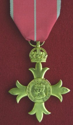Photograph of the Officer of the Order British Empire medal.