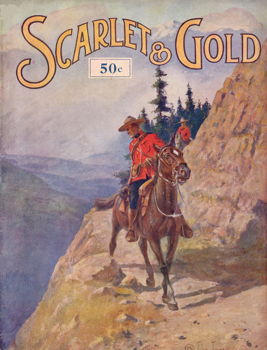 Illustration of the 1937 edition of the RCMP Veterans' Association's Scarlet & Gold magazine cover (Source of image - Ric Hall's Photo Collection).