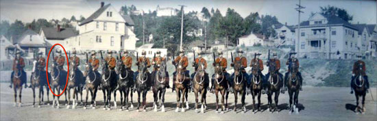 1934 - Photograph of the RCMP Musical Ride from the Fairmount Barrack performing in Portland Oregon (Source of photo - Ione Christensen).