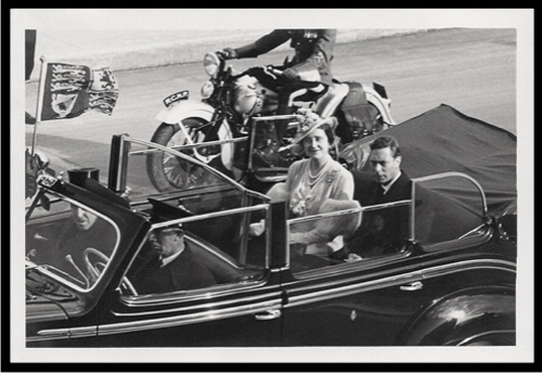 1939 - Photograph of the Royal Visit to Canada with a RCMP motorcycle escort at the top of the photo (Source of photo - Ric Hall's Photo Collection).