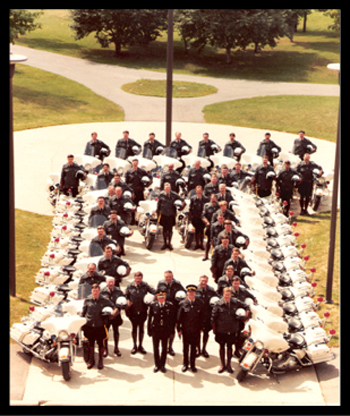 """1984 - Commissioner Simmonds and the Motorcycle Escort at """"N"""" Division training for the Papal visit in 1984 (Source of photo - Ric Hall's Photo Collection)."""