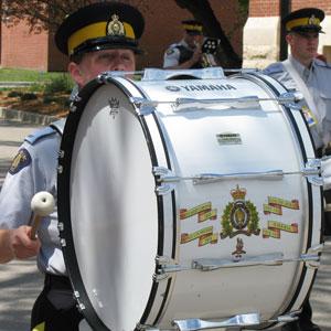 Photograph of RCMP Depot Division Volunteer Band Base Drum (Source of photo - Sheldon Boles).
