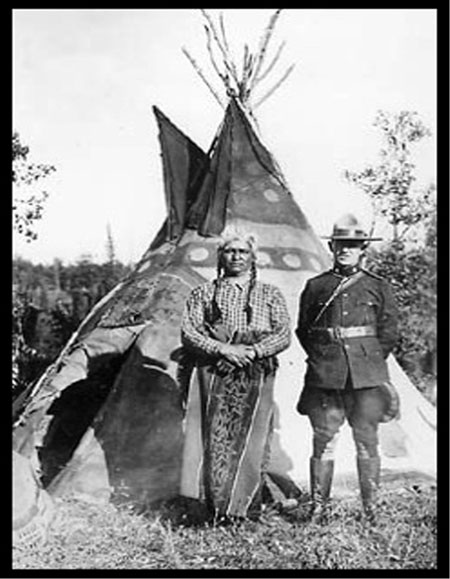 "1920 - Photograph of Robert Threadkell with ""Spotted Eagle"" somewhere in Alberta (Source of photo - Glenbow Museum Archives)."