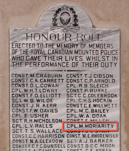 "Photograph of the RCMP Cenotaph at ""Depot"" Division with the name of"