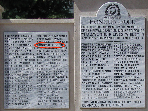"Photograph of the RCMP ""Depot"" Division Cenotaph with the name of Constable Oscar Alexander Kern's name highlighted in red (Source of photo - Sheldon Boles)."