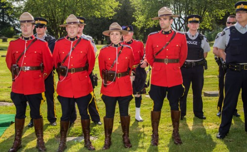 Photograph of RCMP members from both Ridge Meadows and Mission Detachment (Source of photo - Sheldon Boles).