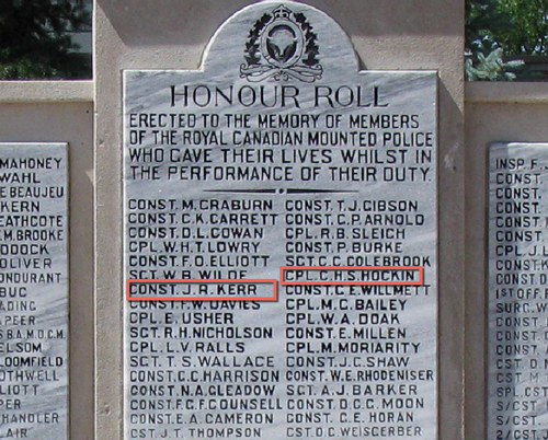 "Photograph of the RCMP Cenotaph at ""Depot"" Division with the names of Constables"